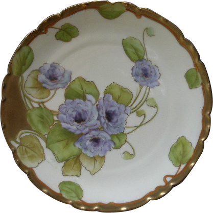 P T Bavaria Cabinet Plate w/Transfer Purple Double Gloxinia Blossoms Motif