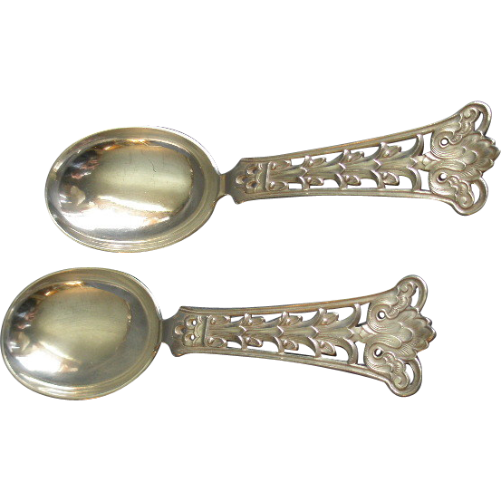 Pair - Norway - Magnus Aase 830 Silver Round Bowl Cream Soup Spoons - Pattern M1A3