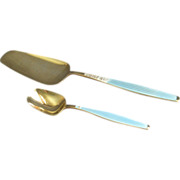 Jacob Tostrup Sterling Silver & Blue Enamel Pastry/Dessert Server & Sugar/Condiment Spoon