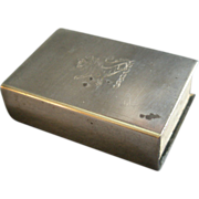 Sterling Silver Match Box Holder w/Engraved Rampant Lion (Scottish Coat Of Arms)