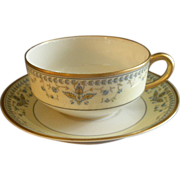 "Haviland & Co. Limoges Arts & Crafts ""English Oatmeal"" Pattern - Set of 6 Cups & Saucers"
