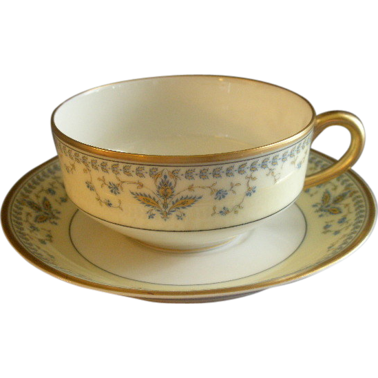 "Haviland & Co. Limoges Arts & Crafts ""English Oatmeal"" Pattern - Set of 5 Cups & Saucers"