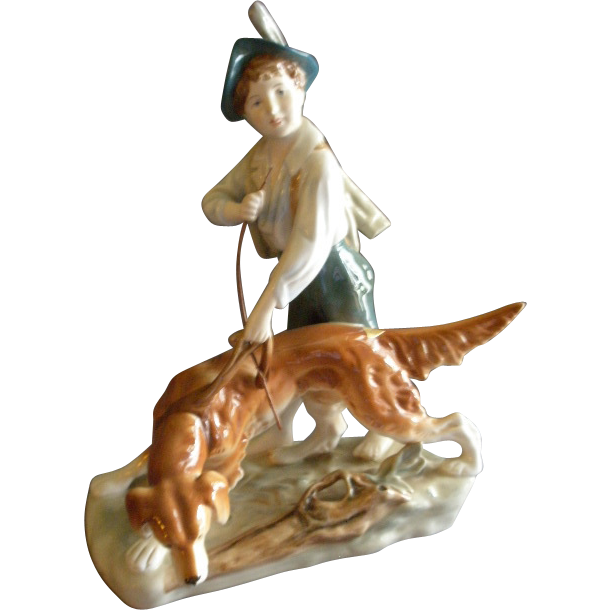 Royal Dux Porcelain Figurine - Young Boy & His Dog
