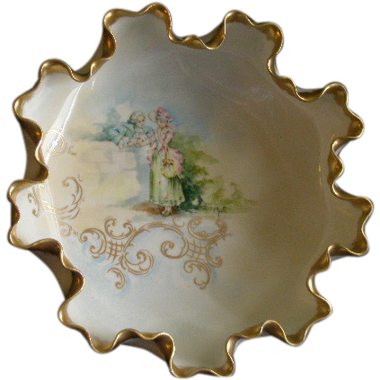 American Willets Belleek Hand Painted Ruffled Bowl w/Garden Courtship Scene