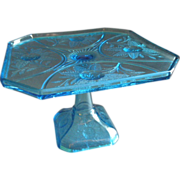 EAPG - Campbell, Jones Co. - Blue 'Rose Sprig' Pedestal Cake Stand