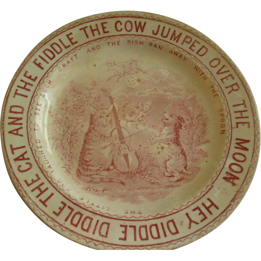 "English Staffordshire Transfer Nursery Rhyme ""Hey Diddle Diddle"" Plate"
