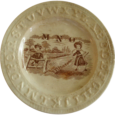 "English Staffordshire ""A B C"" Plate w/Children in the Country Transfer Decoration"
