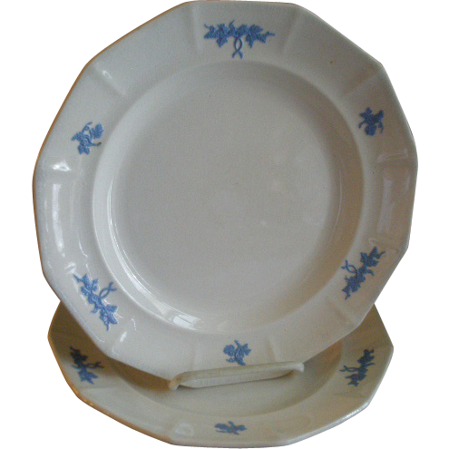 "Pair of ""Chelsea Grape"" Pattern Ironstone Dinner Plates"