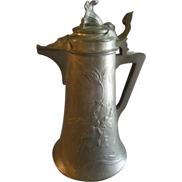 "German ""Kayserzinn"" Pewter Art Nouveau Floral Design Flagon/Tankard"