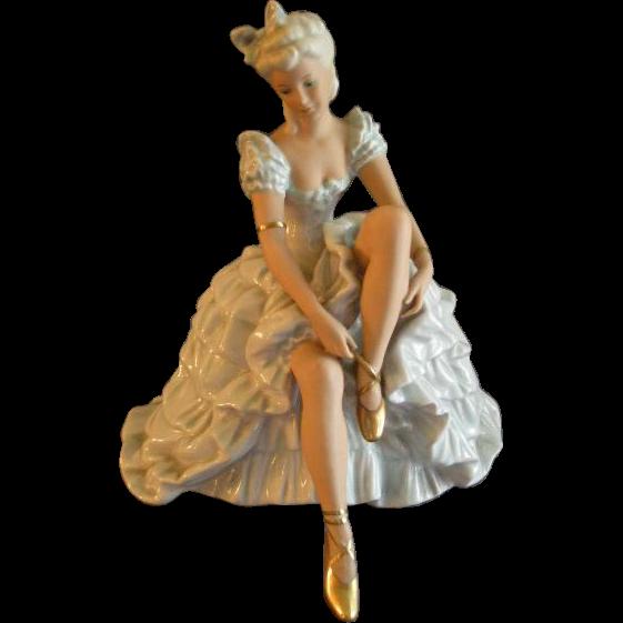 "Wallendorf Schaubach Kunst Porcelain Hand Painted ""Seated Ballerina"" Figurine"