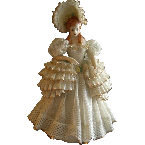 "Heirlooms of Tomorrow Ceramic Dresden-Type Lace Figurine - ""Marilyn"" #841"
