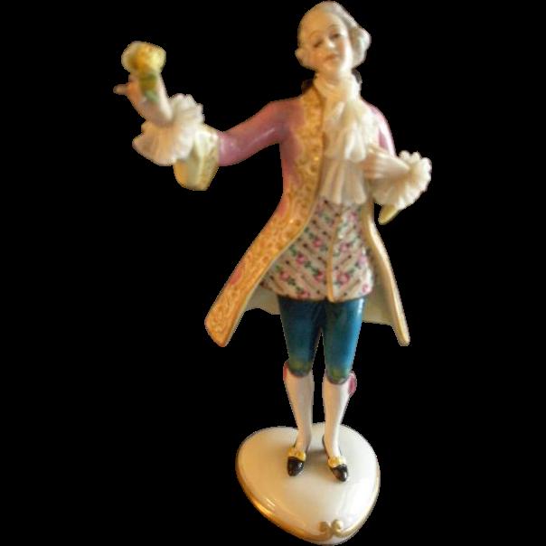 """Aeiteste Volkstedt Dresden Porcelain """"Colonial Gentleman"""" Figurine"""