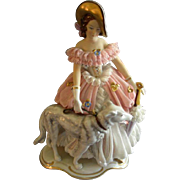 Furstenberg Porcelain Dresden Lace Figurine of Victorian Lady w/Wolfhound