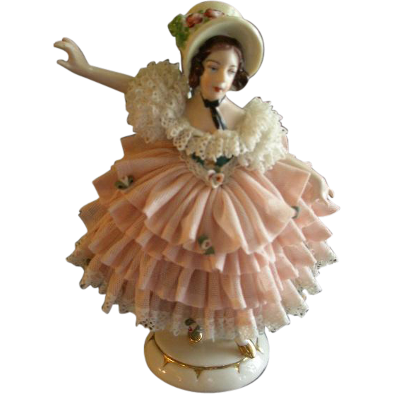 German Porcelain Dresden Lace Figurine of Victorian Lady w/Large Summer Bonnet