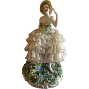 "Luigi Fabris Dresden Lace Figurine ""Lady in a Flower Garden"""