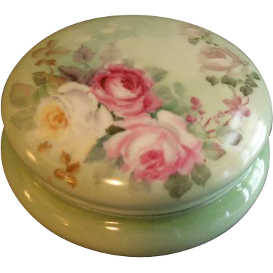 T & V Limoges Hand Painted Dresser/Jewelry Box w/Multi-Colored Roses Motif