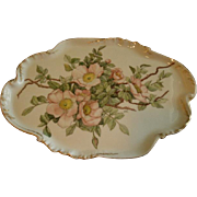 CFH/GDM Limoges Hand Painted Dresser Tray w/Pastel Pink Wild Rose Blossoms Motif - Artist Signed