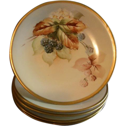 D Amp C France Hand Painted Cabinet Plate W Wild Blackberry