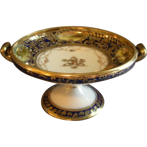 Nippon Hand Painted Cobalt & Gold Miniature Compote w/Scenic Cartouches