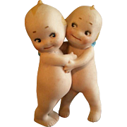 "Rose O'Neill Bisque ""Kewpie Huggers"" Figure - 3 1/2"" Tall"