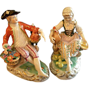 Pair of Carl Theime Porcelain Dresden Figurines - Young Woman & Man Holding Chickens