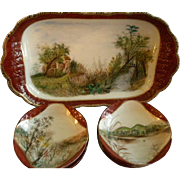 Charles Haviland & Co., Limoges Hand Painted Scenic Ice Cream Platter w/Ten Dessert Bowls, Circa 1880