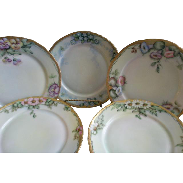 Set of 5 Rosenthal & Co. Hand Painted Salad/Dessert Plates w/Floral Motifs - Each Different - Artist Signed
