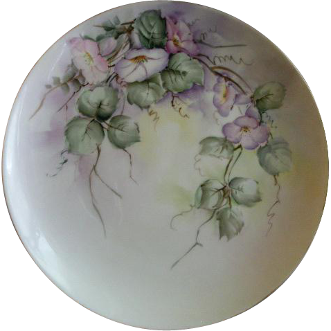 Limoges France Hand Painted Cabinet Plate w/Morning Glory Blossoms & Foliage Motif