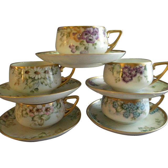 Set of 5 KPM Hand Painted Cups & Saucers w/Floral Motifs - Each Different - Artist Signed & Dated