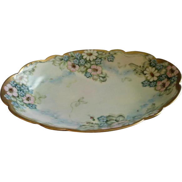 Favorite Bavaria Hand Painted Oval Serving Bowl w/Wild Roses, Daisies & Forget-Me-Not Floral Motif - Artist Signed & Dated