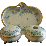 "Bavaria Hand Painted ""Forget-Me-Not"" Pattern 5-Piece Dresser/Vanity Set - Artist Signed & Dated"
