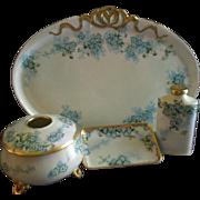 "Porcelain Hand Painted ""Forget-Me-Not"" Pattern 5-Piece Dresser/Vanity Set - Artist Signed & Dated"