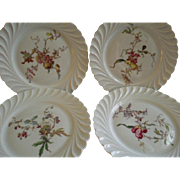 Set of 4 Theodore Haviland Salad/Dessert Plates - Torse Swirl Blank - Botanical Fruits & Wildflowers Motif