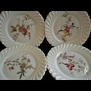 Set of 4 Theodore Haviland Salad/Dessert Plates - Torse Swirl Blank - Botanical Fruits & Wildflowers Motif