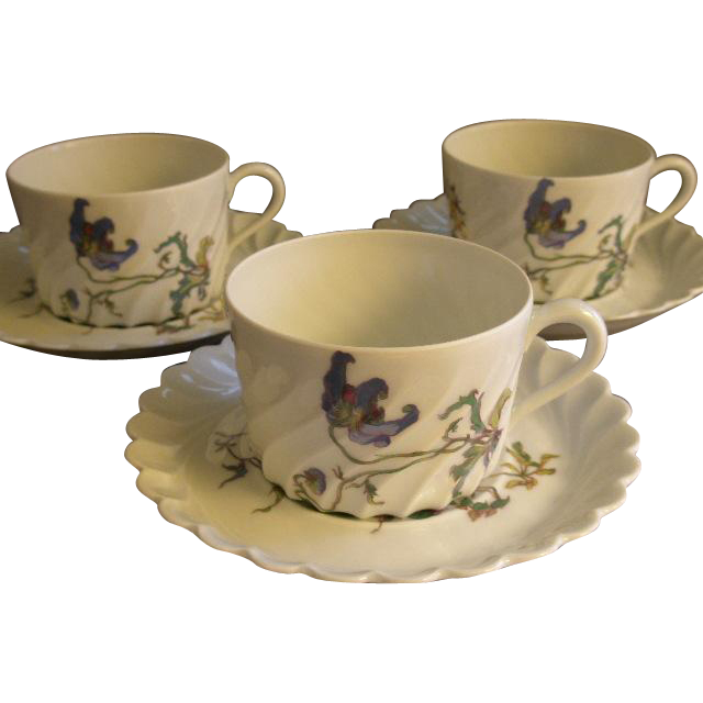 Set of 3 Theodore Haviland Cups & Saucers - Torse Swirl Blank - Botanical Wildflowers Motif