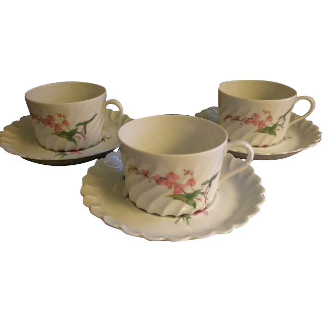 Set of 3 Theodore Haviland Cups & Saucers - Torse Swirl Blank - Botanical Wildflowers Motif