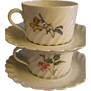 Set of 2 Theodore Haviland Cups & Saucers - Torse Swirl Blank - Botanical Wildflowers Motif