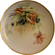 T & V Limoges Hand Painted Charger Plate w/Wild Blackberry Motif