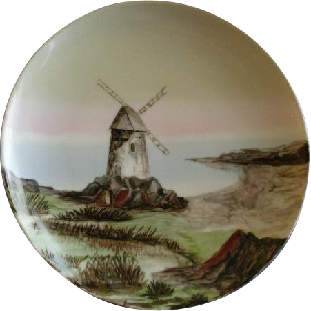 Charles Haviland & Co. Limoges Hand Painted Dutch Windmill Scenic Charger Plate - Circa 1880
