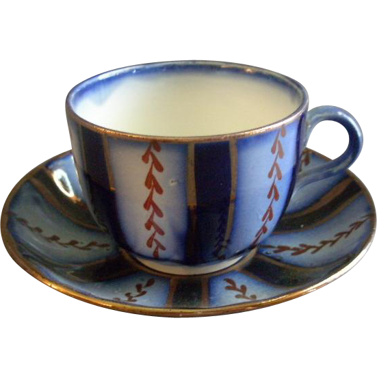 "Charles Allerton & Sons Flow Blue ""Wagon Wheel"" Pattern Cup & Saucer Set"