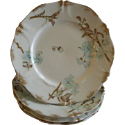Set of 4 Theodore Haviland Luncheon Plates - St Cloud Series w/Floral Motif - Schleiger #116 Blank