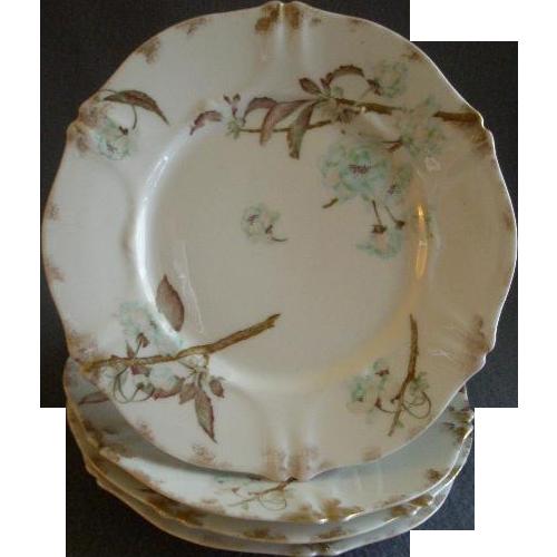 Set of 4 Theodore Haviland Salad/Dessert Plates - St Cloud Series w/Floral Motif - Schleiger #116 Blank