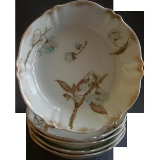 Set of 5 Theodore Haviland Fruit/Sauce Bowls - St Cloud Series w/Floral Motif - Schleiger #116 Blank