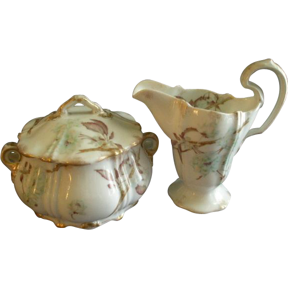 Theodore Haviland Sugar Bowl & Cream Pitcher - St Cloud Series w/Floral Motif - Schleiger #116 Blank