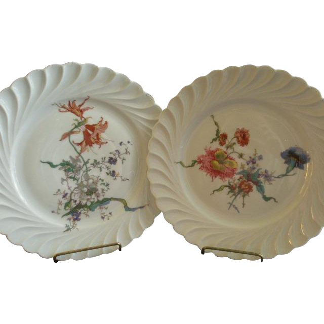 Set of 2 Theodore Haviland Salad/Dessert Plates - Torse Swirl Blank - Botanical Wildflowers Motif