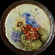 Hand Painted Porcelain Plaque or Trivet w/Vivid Multi-Colored Summer Flowers