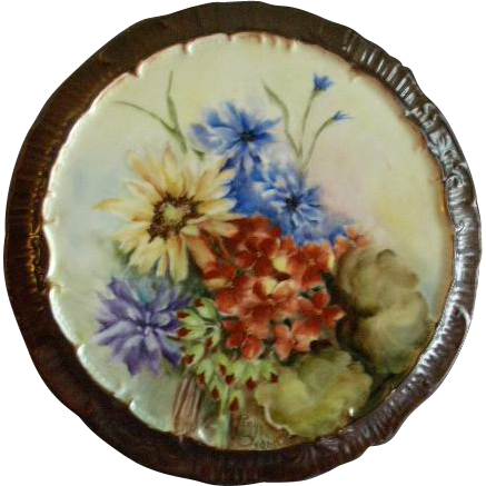 Hand Painted Porcelain Plaque or Trivet w/Vivid Multi-Colored Summer Flowers
