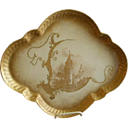 Lanternier Limoges Hand Painted Gold Encrusted Serving/Dresser Tray w/Castle motif