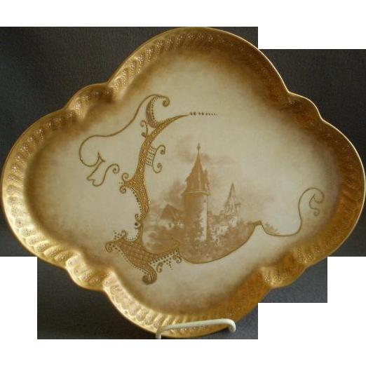 Lanternier Limoges Hand Painted Gold Encrusted Serving/Dresser Tray w/Castle motif