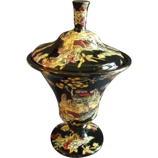Royal Winton Chintz 'Pekin' Pattern Covered Candy Jar - Black w/Gold Trim